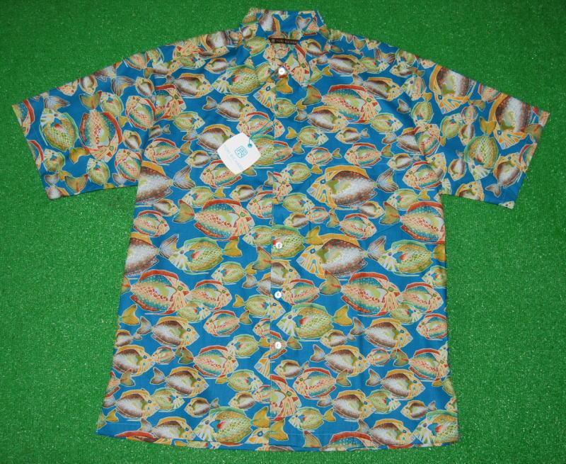 アロハシャツ|TORI RICHARD(トリリチャード)|TOR041|半袖|メンズ|アクアブルー|フィッシュ・魚柄|熱帯魚|海|ハワイアン|イロブダイ|コットン100%|普通襟(ノーマルカラー)|送料無料商品