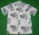 アロハシャツ|TWO PALMS(ツーパームス)|TWO014|半袖|メンズ|ホワイト(白)|パイナップル柄(パイン)|ハワ…