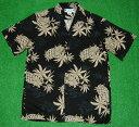 アロハシャツ|TWO PALMS(ツーパームス)|TWO015|半袖|メンズ|ブラック(黒)|パイナップル柄(パイン)|ハワ…