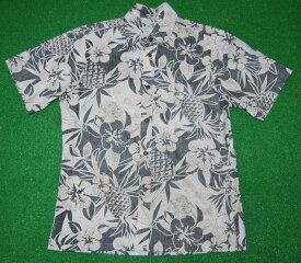 アロハシャツ/メンズ/半袖/黒(クロ)/TWO PALMS(ツーパームス)/TWO023/パイナップル/パイン/ハイビスカス/フラワー/ハワイ/プレゼント/大きいサイズ/コットン100%(裏地)/ノーマル襟/送料無料