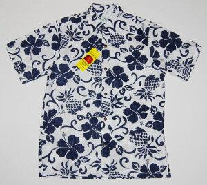 アロハシャツ TWO PALMS(ツーパームス) TWO053 半袖 メンズ ホワイト(白)USサイズ プレゼント ハイビスカス パイナップル ハワイアン ブランド 結婚式 ツートーン コットン100%(裏地) ノー