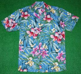 アロハシャツ|WAIMEA CASUALS(ワイメア カジュアルズ)|WC003|半袖|メンズ|ライトブルー(水色)|花・フラワー柄(ハイビスカス・リリー)|コットン100%|開襟(オープンカラー)|1万円以上お買い上げで送料無料