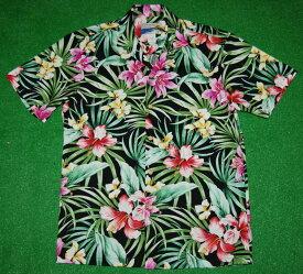 アロハシャツ|WAIMEA CASUALS(ワイメア カジュアルズ)|WC004|半袖|メンズ|ブラック(黒)|花・フラワー柄(ハイビスカス・リリー)|コットン100%|開襟(オープンカラー)|1万円以上お買い上げで送料無料