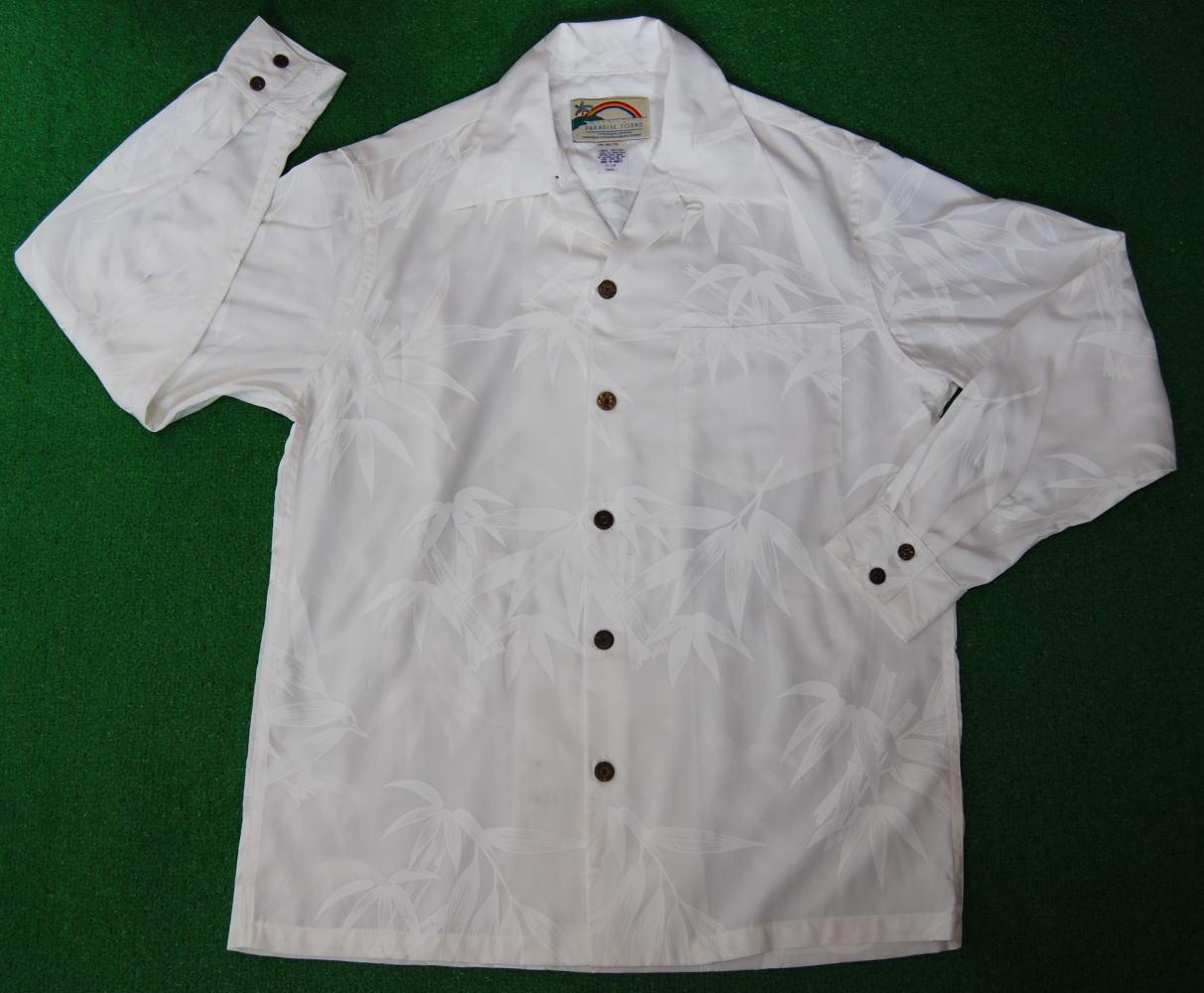 長袖アロハシャツ PARADISE FOUND(パラダイスファウンド) WHPF006L ホワイト(結婚式用にもOKの純白) 葉柄(竹・笹・バンブー) 和柄 レーヨン100% 開襟(オープンカラー) 送料無料商品