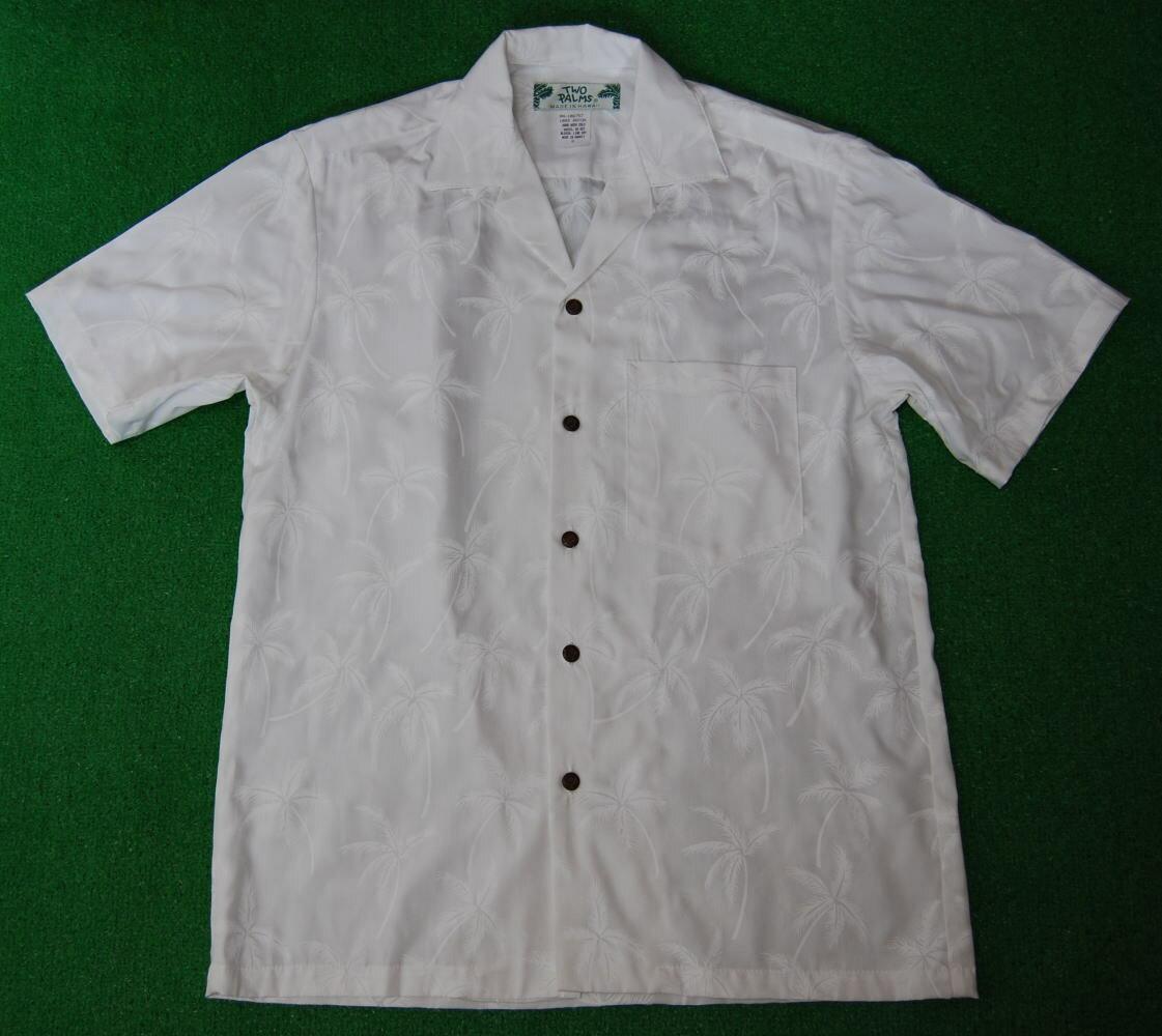 アロハシャツ メンズ  TWO PALMS(ツーパームス) WTWO001 半袖 メンズ 結婚式用にもOKの純白アロハシャツ ホワイト(白) ヤシの木柄・パームツリー柄 レーヨン100% 開襟(オープンカラー) 送料無料商品