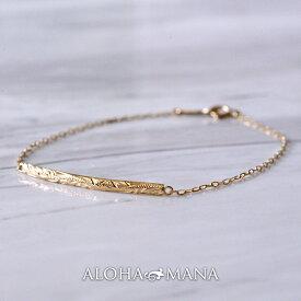 18金 ブレスレット 18k ハワイアンジュエリー アクセサリー レディース 女性 K18 ゴールド 手元に優しいカーヴ描く ジェントルウェーブ abr1178 プレゼント ギフト