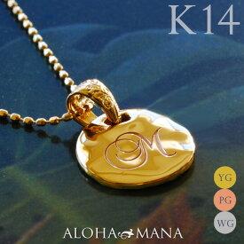 イニシャルネックレス レディース 女性 ハワイアンジュエリー イニシャル ラウンド ゴールド 文字刻印してあなただけのお守りに チェーン付きセット K14 14金 イエロー ピンク ホワイト シンプル 華奢 刻印無料 apd1136g14 (K10チェーン付)