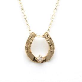 馬蹄 ネックレス ホースシュー ペンダント レディース 女性 ハワイアンジュエリー K10 イエローゴールド ダイヤモンド 華奢 シンプル apdg2869