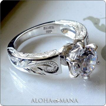 一粒 スワロフスキー リング 指輪 ハワイアンジュエリー アクセサリー レディース 女性 グラマラスな輝き ひと粒 スワロフスキーCZダイヤ(キュービック ジルコニア ) プリンセス シルバーリング ari1052 プレゼント ギフト 2018 夏