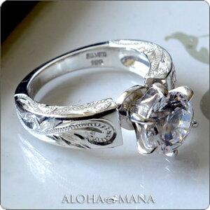 一粒 スワロフスキー リング 指輪 ハワイアンジュエリー アクセサリー レディース 女性 グラマラスな輝き ひと粒 スワロフスキーCZダイヤ(キュービック ジルコニア ) プリンセス シルバーリング ari1052 ホワイトデー プレゼント ギフト