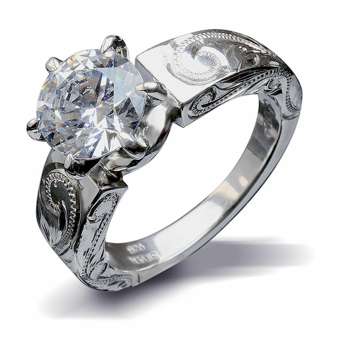 一粒 スワロフスキー リング 指輪 ハワイアンジュエリー アクセサリー レディース 女性 グラマラスな輝き ひと粒 スワロフスキーCZダイヤ(キュービック ジルコニア ) プリンセス シルバーリング ari1052 プレゼント ギフト