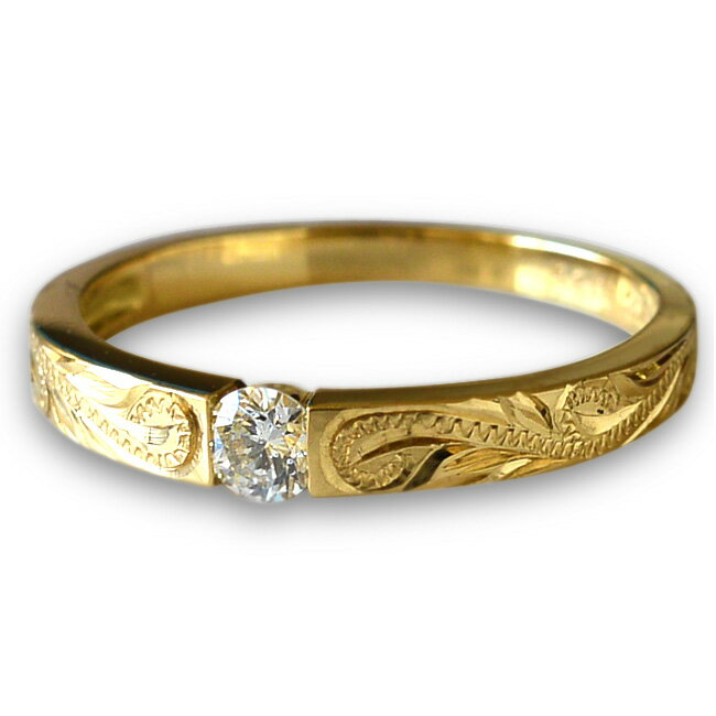 一粒 ダイヤモンド リング 指輪 ハワイアンジュエリー アクセサリー レディース 女性 ひと粒 ダイヤ フラット ゴールドリング K18 ゴールド 18金・幅2.3mm (イエロー ピンク ホワイト) ari1136 プレゼント ギフト