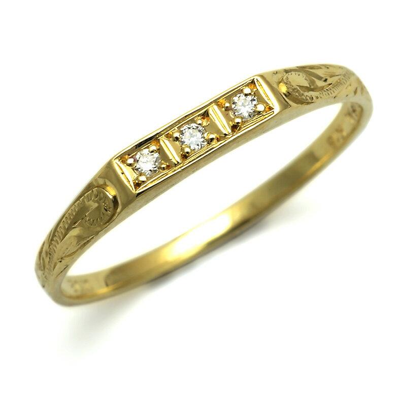 ダイヤモンド リング 指輪 ハワイアンジュエリー アクセサリー レディース 女性 K14またはK18ゴールド 3ダイヤモンド スクロール ゴールドリング イエローゴールド (14金18金 18k) ari1147