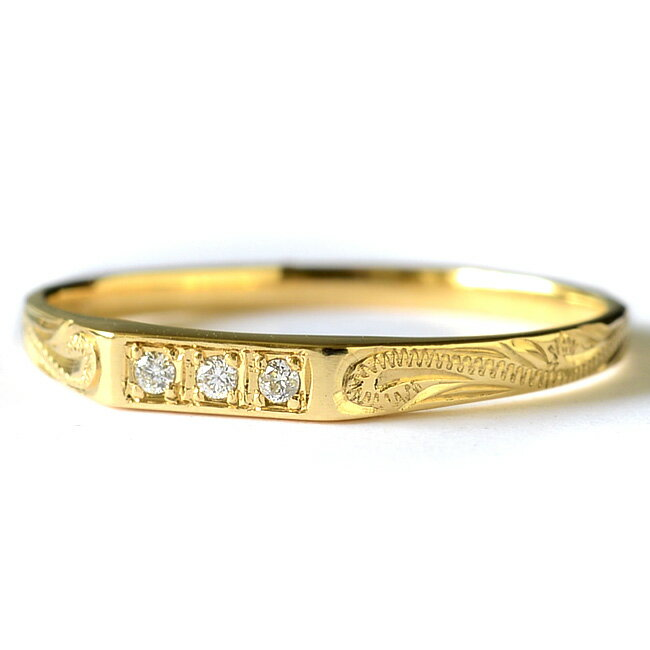 ダイヤモンド リング 指輪 ハワイアンジュエリー アクセサリー レディース 女性 K14またはK18ゴールド 3ダイヤモンド スクロール ゴールドリング イエローゴールド (14金18金 18k) ari1147 クリスマス プレゼント
