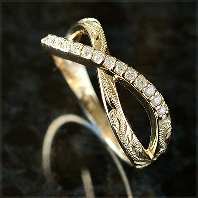 インフィニティ リング 指輪 ハワイアンジュエリー アクセサリー レディース 女性 (K18 ゴールド 18金) ラインストーン ダイヤモンド インフィニティリング [Mauloa] イエローゴールド ari1175 プレゼント ギフト