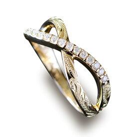 インフィニティ ハワイアンジュエリー リング 指輪 アクセサリー レディース 女性 (K18 k18 ゴールド 18金) ラインストーン ダイヤモンド インフィニティリング [Mauloa] イエローゴールド ari1175 プレゼント ギフト
