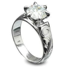 スワロフスキー ハワイアンジュエリー リング 指輪 アクセサリー レディース 女性 大粒 ビジュー 一粒 スワロフスキーCZダイヤ(キュービック ジルコニア ) ひと粒 フレンチマウント シルバーリング ari1229 プレゼント ギフト