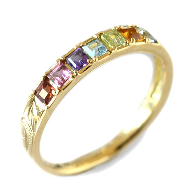 リング 指輪 ハワイアンジュエリー レディース 女性 アミュレット カラーストーン スクロール ゴールドリング K18 ゴールド 18金 イエロー ari1349/新作 バレンタイン プレゼント ギフト