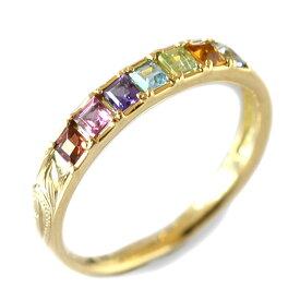 ハワイアンジュエリー リング 指輪 レディース 女性 アミュレット カラーストーン スクロール ゴールドリング K18 18k ゴールド 18金 イエロー ari1349/ プレゼント ギフト