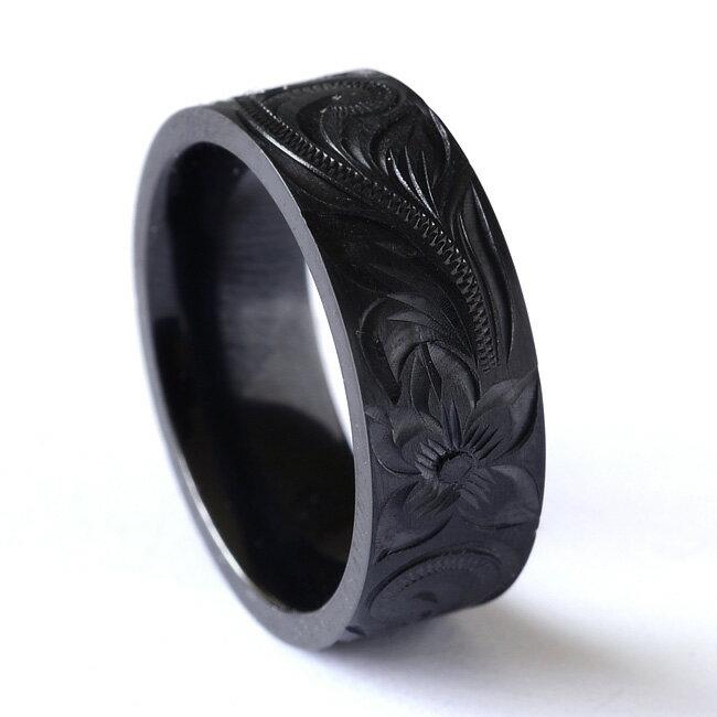 リング 指輪 ハワイアンジュエリー アクセサリー レディース 女性 メンズ 男性 ブラックチタン シングルトーン 手彫り プルメリア リング bri1312/新作 バレンタイン プレゼント ギフト
