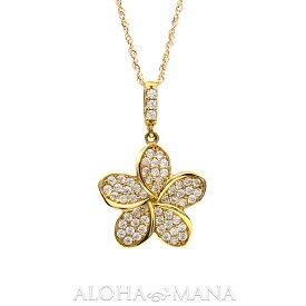 ゴールドネックレス ハワイアンジュエリー アクセサリー レディース プルメリア Cz イエローゴールド ピンクゴールド K14 ペンダント ネックレス(付属チェーン無し) bpd1491 gold necklace