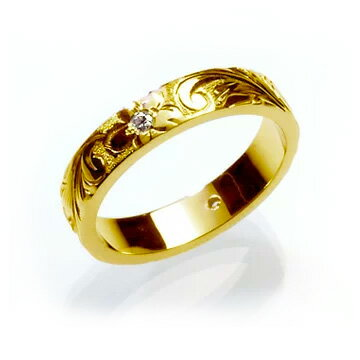 ダイヤモンド マリッジリング 結婚指輪 ハワイアンジュエリー リング レディース 女性 (Weliana)ONLYONE ダイヤモンドリング 0.02ct フラット ゴールドリング (幅4mm・6mm) hijrig034 オーダーメイド ハンドメイド ホワイトデー プレゼント ギフト