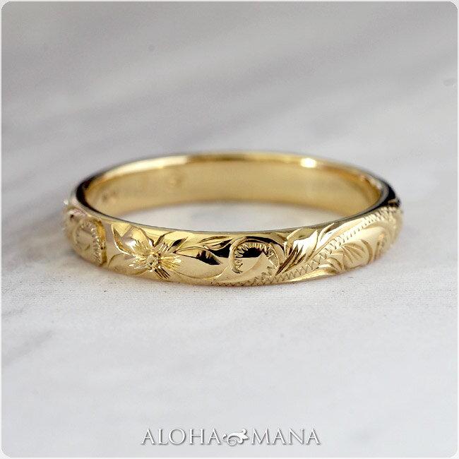 (Weliana)ONLYONE マリッジリング 結婚指輪 ハワイアンジュエリー リング レディース 女性 メンズ 男性 バレル ゴールドリング (幅3mm) cdr001mili オーダーメイド ハンドメイド プレゼント ギフト