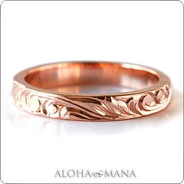 (Weliana)ONLYONE マリッジリング 結婚指輪 ハワイアンジュエリー リング レディース 女性 メンズ 男性 フラット ゴールドリング (幅3mm) cdr009mili オーダーメイド ハンドメイド バレンタイン プレゼント ギフト