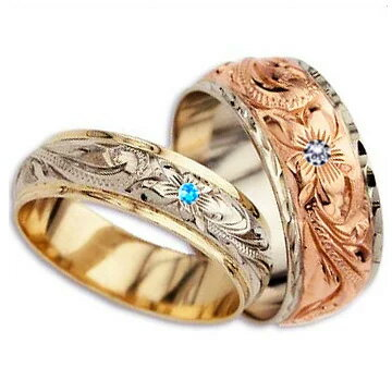(Weliana)ONLYONE マリッジリング 結婚指輪 ハワイアンジュエリー リング レディース 女性 メンズ 男性 ペアリング デュアルトーン バレルストレート ゴールドリング ペア セットcdr017pair(幅6mm・8mm・10mm・12mm) オーダーメイド ハンドメイド プレゼント ギフト