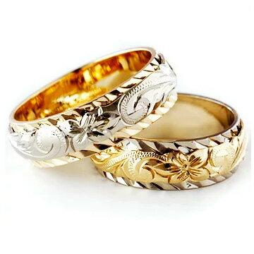 (Weliana)ONLYONE マリッジリング 結婚指輪 ハワイアンジュエリー リング レディース メンズ ペアリング デュアルトーン バレルカットアウト・ ゴールドリング ペア セット (幅6mm・8mm・10mm・12mm) cdr018pair オーダーメイド ハンドメイド