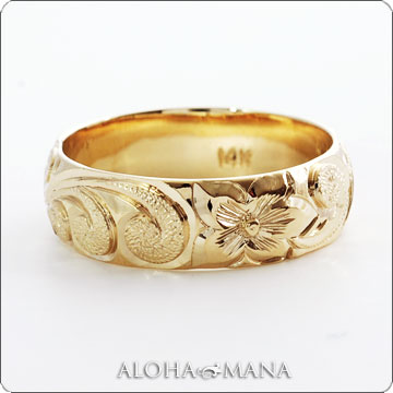 (Weliana)ONLYONE マリッジリング 結婚指輪 ハワイアンジュエリー リング レディース 女性 メンズ 男性 バレル ゴールドリング カレイキニ (幅4mm・6mm・8mm)cdr022kale オーダーメイド ハンドメイド プレゼント ギフト