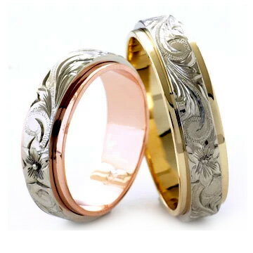 (Weliana)ONLYONE マリッジリング 結婚指輪 ハワイアンジュエリー リング レディース 女性 メンズ 男性 ペアリング デュアルトーン フラット ゴールドリング ペア セット (幅6mm・8mm・10mm) cdr035pair オーダーメイド ハンドメイド バレンタイン プレゼント ギフト