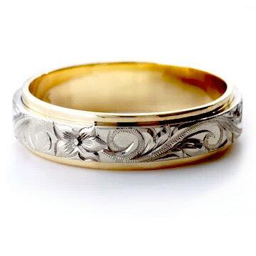 (Weliana)ONLYONE マリッジリング 結婚指輪 ハワイアンジュエリー リング レディース 女性 メンズ 男性 デュアルトーン フラット ゴールドリング cdr035 (幅6mm・8mm・10mm) オーダーメイド ハンドメイド バレンタイン プレゼント ギフト