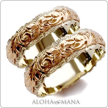 (Weliana)ONLYONE マリッジリング 結婚指輪 ハワイアンジュエリー リング レディース 女性 メンズ 男性 ペアリング デュアルトーン バレル ダブルカットアウト・ ゴールド リング ペア セット cdr019pair (幅6mm・8mm・10mm・12mm) オーダーメイド ハンドメイド