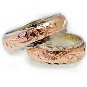 (Weliana)ONLYONE マリッジリング 結婚指輪 ハワイアンジュエリー リング レディース 女性 メンズ 男性 ペアリング デュアルトーン バレル・ストレート ゴールドリング ペア セット cdr017trpair (幅6mm・8mm・10mm・12mm) オーダーメイド ハンドメイド