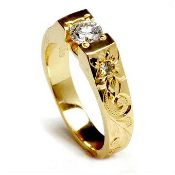 (Weliana)ONLYONE エンゲージリング 結婚指輪 婚約指輪 ハワイアンジュエリー リング レディース 女性テーパービート ダイヤモンド セッティング ウェディング ゴールドリング lgr002 バレンタイン プレゼント ギフト