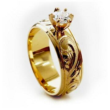 (Weliana)ONLYONE エンゲージリング 結婚指輪 婚約指輪 ハワイアンジュエリー リング レディース 女性 バレル 立て爪 ダイヤモンド ゴールドリング ウェディング リング(幅6mm) lgr008 ホワイトデー プレゼント ギフト