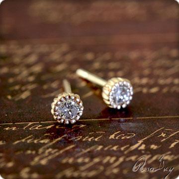 (RERALUy)一粒 ダイヤモンド ピアス レディース 女性 K18ゴールド上質 ひと粒 ダイヤモンドピアス ワッフルクラウン(0.12ct) ゴールドピアス スタッドピアス rerdce0010 ホワイトデー プレゼント ギフト