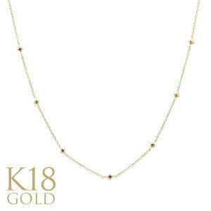 k18ネックレス ゴールドネックレス (RERALUy)ネックレス レディース アクセサリー 18金 K18 イエローゴールド ステーション スター チョーカー ネックレス 40cm/新作