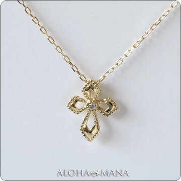 (RERALUy)ネックレス レディース 女性 アクセサリー 10金 K10 イエローゴールド ・一粒 ダイヤモンド 0.01ct レーシークロス ネックレス rne0086 ホワイトデー プレゼント ギフト
