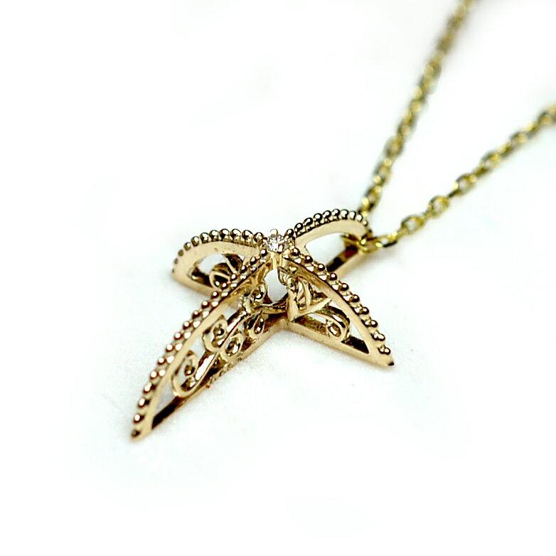 (RERALUy)ネックレス レディース 女性 アクセサリー 10金 K10 イエローゴールド・レーシークロス プチダイヤモンド ネックレス rpd1032 クリスマス プレゼント