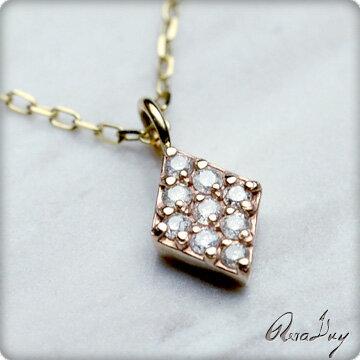 (RERALUy)レディース 女性 アクセサリー ネックレス 10金 K10 ゴールド ・菱形 ダイヤモンド イエローゴールド ペンダント rpd5494 プレゼント ギフト