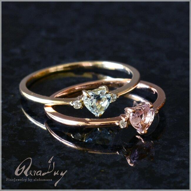 (RERALUy)リング 指輪 レディース 女性 10金 K10 18金 K18 ・ハートシェイプ アクアマリン ピンクトルマリン ダイヤモンド 0.01ct リング rri1266/新作 プレゼント ギフト