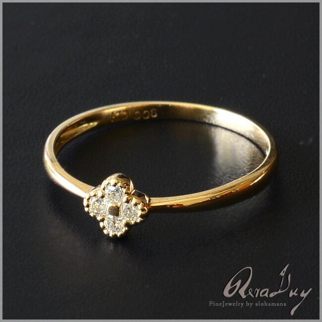(RERALUy)リング 指輪 レディース 女性 10金 K10 18金 K18 イエローゴールド ・ダイヤモンド 0.08ct クローバー リング rri1269/新作 プレゼント ギフト