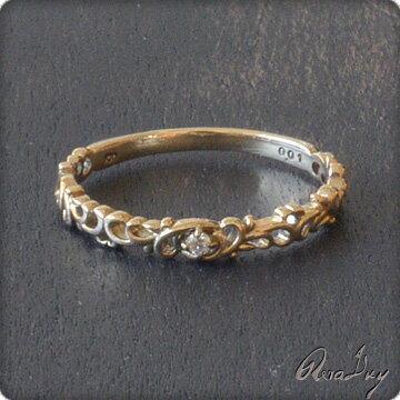 (RERALUy)リング 指輪 レディース 女性 10金 K10イエローゴールド・ハートアラベスク プチダイヤモンド ピンキーリング ・ファランジリング・ミディリング rri8045 プレゼント ギフト