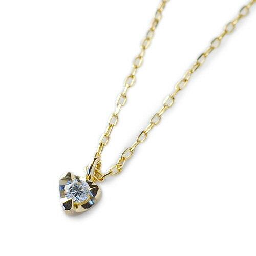(RERALUy)ネックレス レディース 女性 アクセサリー K10 10金 ゴールド ダイヤモンド・プチ ハート イエローゴールド ペンダント rpd9583 プレゼント ギフト