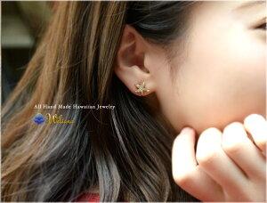 ヒトデダイヤモンドピアスハワイアンジュエリーアクセサリーレディース女性メンズ男性[Weliana]K18ゴールドスターフィッシュの上質ダイヤモンド0.16ctスターゴールドピアススタッドwner022ホワイトデープレゼントギフト