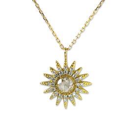 k18ネックレス ゴールドネックレス ネックレス ハワイアンジュエリー アクセサリー レディース 女性 (Weliana) K18 18k ゴールド ハレアカラ サンライズ SUN 太陽 モチーフ ローズカット ダイヤモンド 0.11ct ペンダント イエローゴールド 18金 wne1361 gold necklace