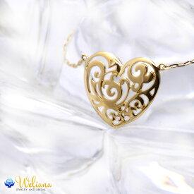 ゴールドネックレス k18ネックレス ハワイアンジュエリー ネックレス アクセサリー レディース 女性 (Weliana)イエローゴールドハートのレリーフペンダント ネックレス プレゼント ギフト gold necklace
