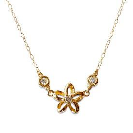 k18ネックレス ゴールドネックレス ネックレス ハワイアンジュエリー アクセサリー レディース 女性 (Weliana) K18 18k 18金 ゴールド ・オープン プルメリア・ダイヤモンド ペンダント イエローゴールド フラワー wpd3311 gold necklace